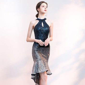 Short Front Long Back Sparkle Sequin Cocktail Dress Halter Party Dress