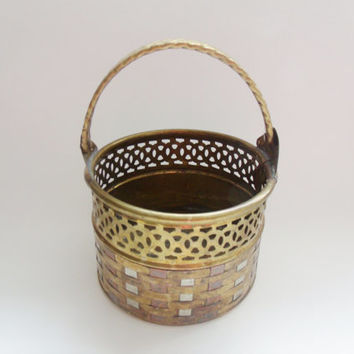 Vintage Brass Copper and Steel Weave Basket with Braided Handle
