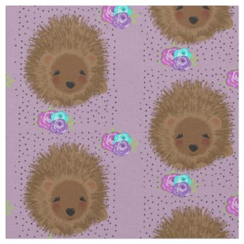Cute Hedgehogs and Flower Posies Pretty Patterned Fabric