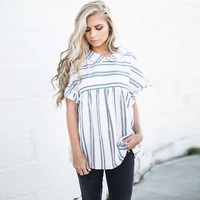 Women Summer Slim Tops Tee Shirts Turn Down Collar