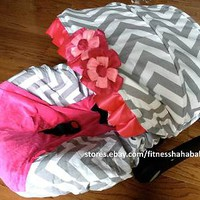baby Chevron gray pink infant car seat cover canopy cover fitmost infant carseat