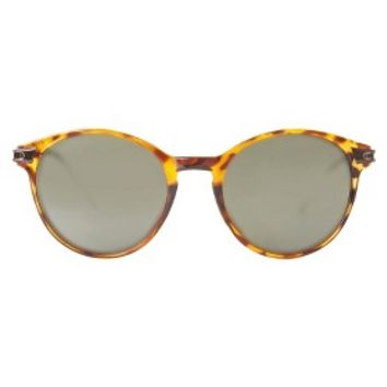 Women's Small Round Sunglasses with Metal Temples - Tortoise