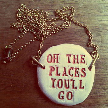 Dr Seuss Quote Pendant Necklace, Typography, Unique hand crafted, Inspirational Jewelry