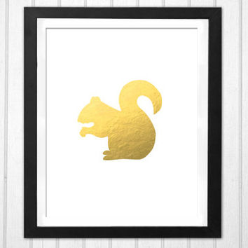 Squirrel faux gold cute animal silhouette print  INSTANT DOWNLOAD