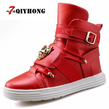 High Top Casual Shoes Men Leather Fashion Metal Head Shoes Red Trainers Superstar Zapatillas Mujer Basket Leisure Big Size 39-44