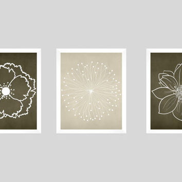 Set of 3 White Flower Blossoms on Brown and Beige Chalk Prints CUSTOM COLORS Modern Art Prints for Nursery Decor Colors Modern prints  8x10