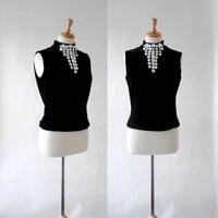 Vintage 80s doing Mad Men Style, Flora Nikrooz Velvet Beaded Top