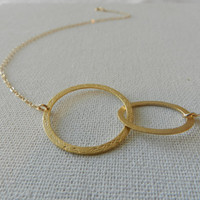 Gold Circle Necklace, Two Eternity Linked Circles, 14k Goldfilled necklace, Simple  jewelry, Infinity necklace, Eternity Necklace