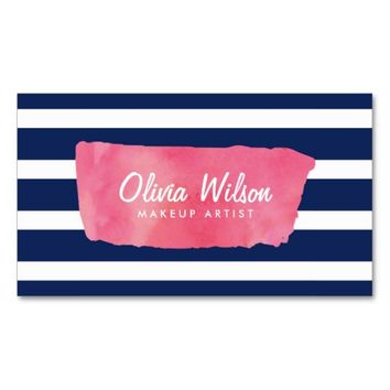 Chic Pink Watercolour Makeup Artist Blue Stripes Business Card