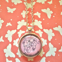 Elephant - pink and grey - glass dome necklace for tween or teen girl