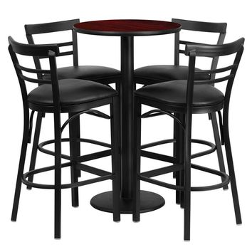 24'' Round Mahogany Laminate Table Set with Round Base and 4 Two-Slat Ladder Back Metal Barstools - Black Vinyl Seat [RSRB1034-GG]
