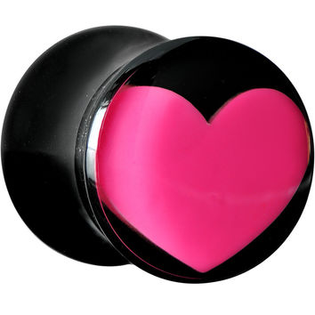 0 Gauge Black Acrylic Hot Pink Heart Saddle Plug