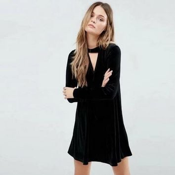 Women Temperament Fashion Velvet Hollow V-Neck Long Sleeve Loose Mini Dress