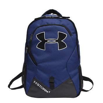Under Armour New Tide brand men and women fitness training bag casual outdoor backpack Blue