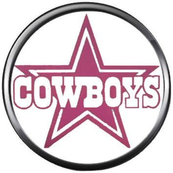 NFL Pink Logo Dallas Cowboys Diamond Plate Texas Football Fan Team Spirit 18MM - 20MM Snap Charm