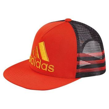 ESBONIA adidas Men's Retro Snapback Trucker Cap Embroidered Logo Red Black Orange