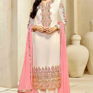 Cream and Pink Embroidered Straight Cut Style Suit