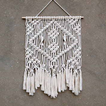 Macrame wall hanging 23 inches Bohemian tapestry Boho wall decor Living room woven wall hanging Dorm wall art Eco-friendly interior design