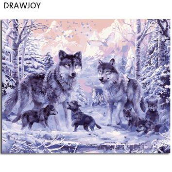 DRAWJOY Framed DIY Painting By Numbers Wolvesl Digital Oil Painting On Canvas Home Decoration Wall Art GX8366 40*50cm
