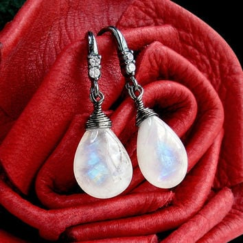Moonstone Glow Sterling Moonstone and CZ Earrings by GothicGlitter