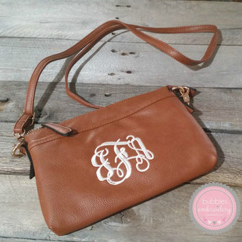 Monogrammed Crossbody Purse CAMEL, SEAGREEN, BLACK Hipster