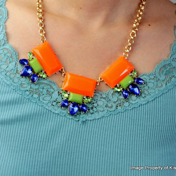 Orange Statement Necklace,Jcrew Style Popular Necklace Jewelry,Summer Jewelry,Bridal Party Gift Necklace