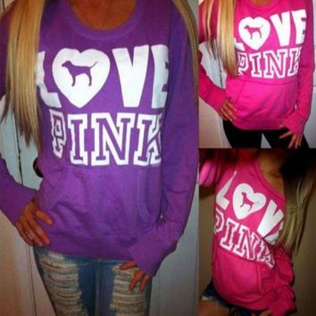 ESBONN Victoria's Secret LOVE PINK Women's Fashion Letter Print Round neck Long-sleeves Pullover Tops Sweater