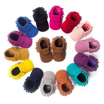 Suede Leather Newborn Infant Moccasins/Moccs/Uggs Shoes - 13 Colors