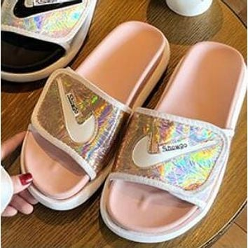 NIKE Summer Fashion Woman Casual Dazzle Color Sandals Slippers Shoes Pink