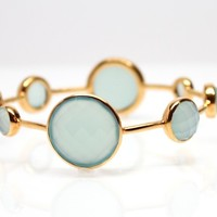 Gold Vermeil Aqua Chalcedony Bangle