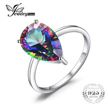 JewelryPalace Pear Concave Cut 3.7ct Genuine Rainbow Fire Mystic Topaz 925 Sterling Silver Ring Vintage Jewelry Brand Fashion