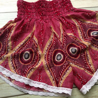 High waisted Lace Shorts Peacock Boho Print Summer Chic Fashion Trim Tribal Aztec Ethnic Clothing Bohemian Ikat Cloth Hobo Beach summer Red