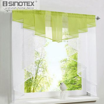 Roman Curtain Blind 11 Colors Fashion Pleated Design Stitching Colors Tulle Balcony Kitchen Panel Polyester Rod Pocket 1PCS/Lot