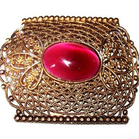 "Edwardian Brooch Pink Marbled Art Glass Stone Filigree Gold Metal 2.5"" Vintage"