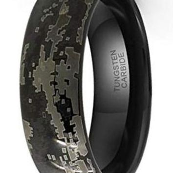 CERTIFIED 8mm Tungsten Carbide Black Hunting Camouflage Wedding Band Engagement Ring