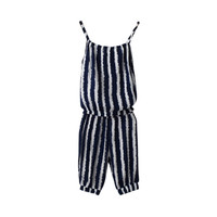 Kid Baby Girls Casual Jumpsuit Outfits Sets Baby Girls Striped Vest + Crop Pants Clothes Suits