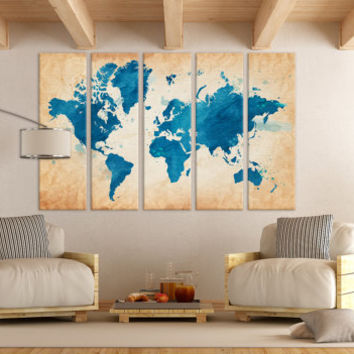 Shop large world map print on wanelo large world map canvas print wall art 13 or 5 panel art extra gumiabroncs Images