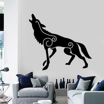 Vinyl Wall Decal Wolf Irish Celtic Patterns Celts Ireland Stickers Mural Unique Gift (103ig)