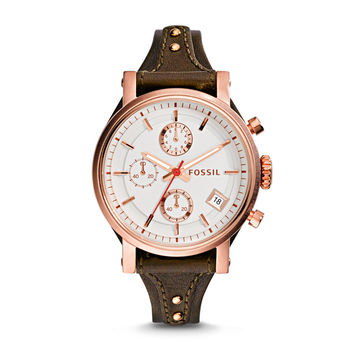 Original Boyfriend Chronograph Leather Watch - Raisin