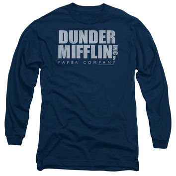 THE OFFICE/DUNDER MIFFLIN DISTRESSED-L/S ADULT 18/1-NAVY