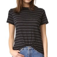Stripe Slub Short Sleeve Tee