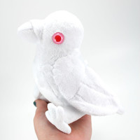 Albino Crow, Raven, Bird Stuffed Animal Plushie