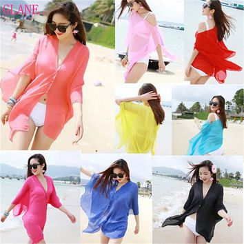 GLANE Brief Hot 2017 Swimwear Women Summer Beachwear Bikini Beach dress Cover Up Kaftan Bikinis Lady Shirt  Swimsuit Sexy Top