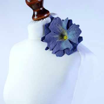 Blue wet felt flower brooch - chic, stylish, fiber art jewelry in large size - fancy, floral, wool, felted brooch [B74]