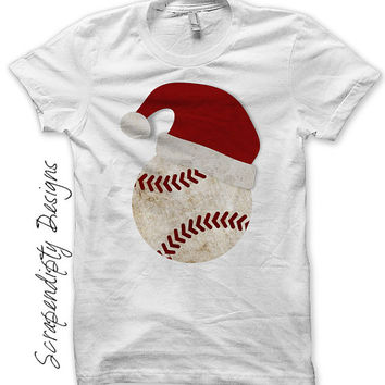 Christmas Iron on Transfer - Iron on Santa Hat Shirt / Toddler Santa Baseball Shirt / Baby Holiday Outfit / Christmas Sports Jersey IT307-C