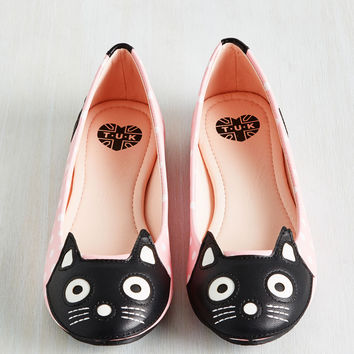 Up Your Alley Cat Flat in Pink Dots | Mod Retro Vintage Flats | ModCloth.com