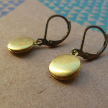 Tiny locket earrings by littlepancakes on Etsy