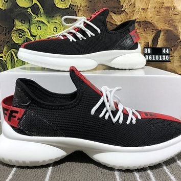 DCCK B036 Balenciaga Off White Flyknit Casual Running Shoes Black Red White