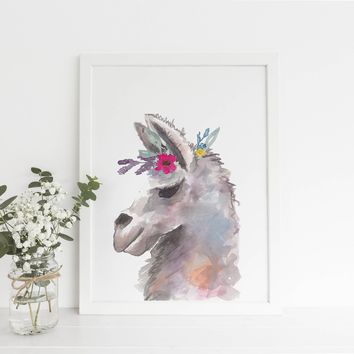 Whimsical Llama Watercolor Painting Art Print