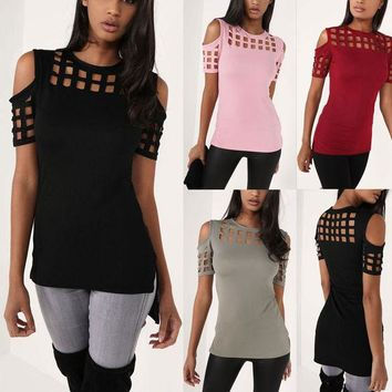 LMFON Fashion Solid Color Square Hollow Strapless Short Sleeve T-shirt Tops